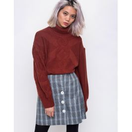 House of Sunny Turtleneck Cable Knit Jumper Reddish Brown 38